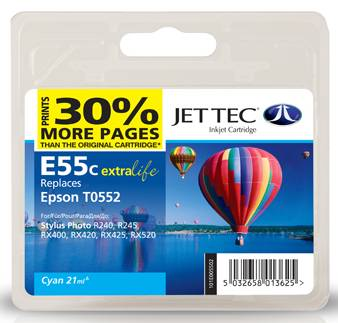 Jettec Cyan Compatible Cartridge for Epson Stylus Photo RX400 · RX420 · RX425 · RX520 · R240